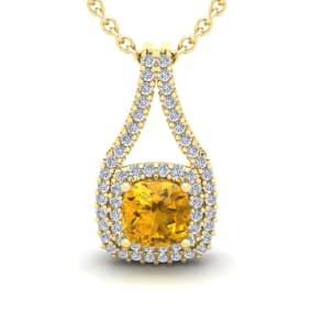 2 Carat Cushion Cut Citrine and Double Halo Diamond Necklace In 14 Karat Yellow Gold, 18 Inches