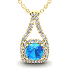 3 1/2 Carat Cushion Cut Blue Topaz and Double Halo Diamond Necklace In 14 Karat Yellow Gold, 18 Inches