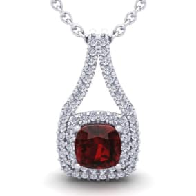 4 Carat Cushion Cut Garnet and Double Halo Diamond Necklace In 14 Karat White Gold, 18 Inches