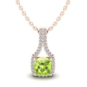 1 1/4 Carat Cushion Cut Peridot and Classic Halo Diamond Necklace In 14 Karat Rose Gold, 18 Inches