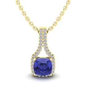1 1/4 Carat Cushion Cut Tanzanite and Classic Halo Diamond Necklace In 14 Karat Yellow Gold, 18 Inches