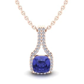 1 1/4 Carat Cushion Cut Tanzanite and Classic Halo Diamond Necklace In 14 Karat Rose Gold, 18 Inches
