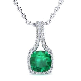 2 Carat Cushion Cut Emerald and Classic Halo Diamond Necklace In 14 Karat White Gold, 18 Inches