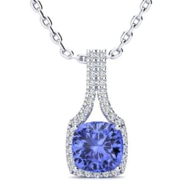 1 3/4 Carat Cushion Cut Tanzanite and Classic Halo Diamond Necklace In 14 Karat White Gold, 18 Inches