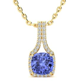 1 3/4 Carat Cushion Cut Tanzanite and Classic Halo Diamond Necklace In 14 Karat Yellow Gold, 18 Inches