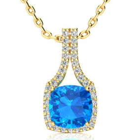3 Carat Cushion Cut Blue Topaz and Classic Halo Diamond Necklace In 14 Karat Yellow Gold, 18 Inches, CLEARANCE