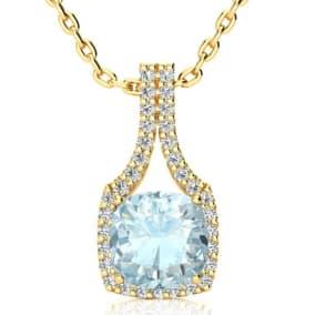 2 1/2 Carat Cushion Cut Aquamarine and Classic Halo Diamond Necklace In 14 Karat Yellow Gold, 18 Inches