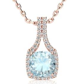 2 1/2 Carat Cushion Cut Aquamarine and Classic Halo Diamond Necklace In 14 Karat Rose Gold, 18 Inches