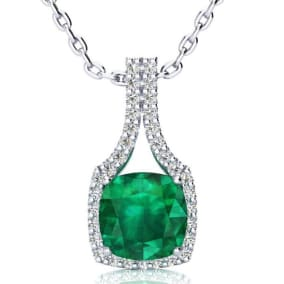 2 1/2 Carat Cushion Cut Emerald and Classic Halo Diamond Necklace In 14 Karat White Gold, 18 Inches