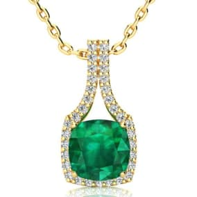2 1/2 Carat Cushion Cut Emerald and Classic Halo Diamond Necklace In 14 Karat Yellow Gold, 18 Inches