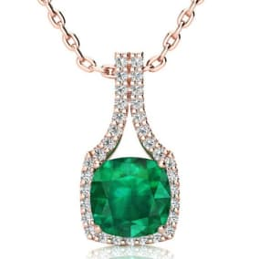 2 1/2 Carat Cushion Cut Emerald and Classic Halo Diamond Necklace In 14 Karat Rose Gold, 18 Inches