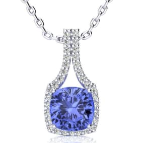 3 Carat Cushion Cut Tanzanite and Classic Halo Diamond Necklace In 14 Karat White Gold, 18 Inches
