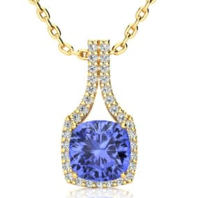3 Carat Cushion Cut Tanzanite and Classic Halo Diamond Necklace In 14 Karat Yellow Gold, 18 Inches