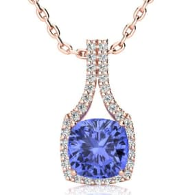 3 Carat Cushion Cut Tanzanite and Classic Halo Diamond Necklace In 14 Karat Rose Gold, 18 Inches