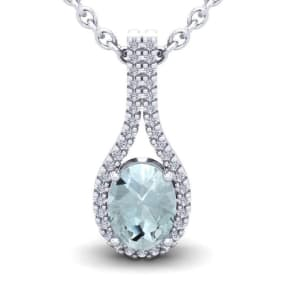 1 1/3 Carat Oval Shape Aquamarine and Halo Diamond Necklace In 14 Karat White Gold, 18 Inches