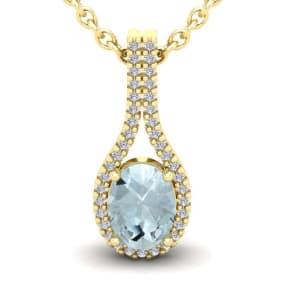 1 1/3 Carat Oval Shape Aquamarine and Halo Diamond Necklace In 14 Karat Yellow Gold, 18 Inches