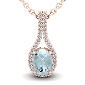 1 1/3 Carat Oval Shape Aquamarine and Halo Diamond Necklace In 14 Karat Rose Gold, 18 Inches
