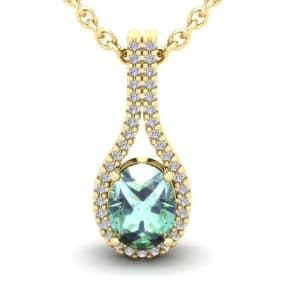 1 1/4 Carat Oval Shape Green Amethyst and Halo Diamond Necklace In 14 Karat Yellow Gold, 18 Inches