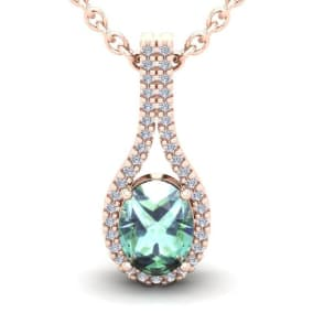 1 1/4 Carat Oval Shape Green Amethyst and Halo Diamond Necklace In 14 Karat Rose Gold, 18 Inches