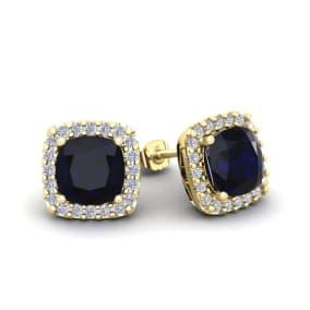 2 1/3 Carat Cushion Cut Sapphire and Halo Diamond Stud Earrings In 14 Karat Yellow Gold