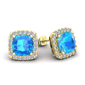 4 Carat Cushion Cut Blue Topaz and Halo Diamond Stud Earrings In 14 Karat Yellow Gold
