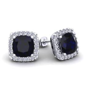 4 Carat Cushion Cut Sapphire and Halo Diamond Stud Earrings In 14 Karat White Gold