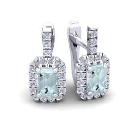 1 2/3 Carat Aquamarine and Halo Diamond Dangle Earrings In 14 Karat White Gold