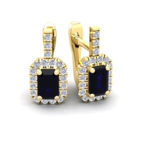 2 Carat Sapphire and Halo Diamond Dangle Earrings In 14 Karat Yellow Gold