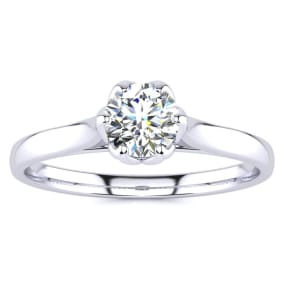 1/2 Carat Diamond Solitaire Engagement Ring In 14 Karat White Gold