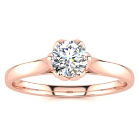 1/2 Carat Diamond Solitaire Engagement Ring In 14 Karat Rose Gold
