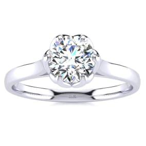 3/4 Carat Diamond Solitaire Engagement Ring In 14 Karat White Gold