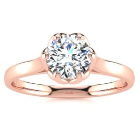 3/4 Carat Diamond Solitaire Engagement Ring In 14 Karat Rose Gold