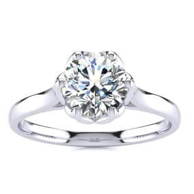 1 Carat Diamond Solitaire Engagement Ring In 14 Karat White Gold