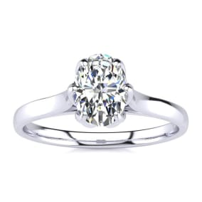 3/4 Carat Oval Shape Solitaire Engagement Ring In 14 Karat White Gold