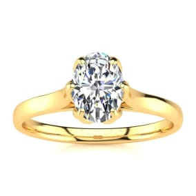 3/4 Carat Oval Shape Solitaire Engagement Ring In 14 Karat Yellow Gold