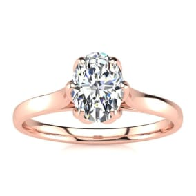 3/4 Carat Oval Shape Solitaire Engagement Ring In 14 Karat Rose Gold