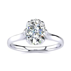 1 Carat Oval Shape Solitaire Engagement Ring In 14 Karat White Gold
