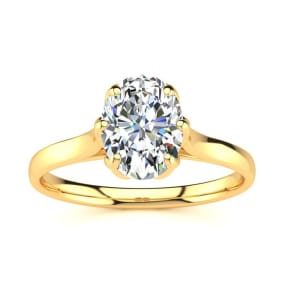 1 Carat Oval Shape Solitaire Engagement Ring In 14 Karat Yellow Gold