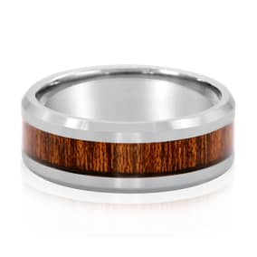 8MM Ethically Sourced Koa Wood and Tungsten Carbide Ring