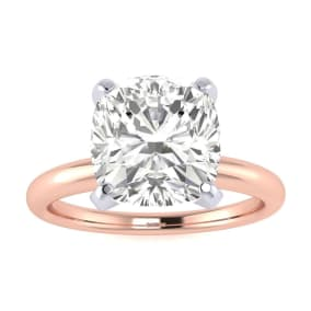 3 Carat Cushion Cut Diamond Engagement Ring In 14K Rose Gold