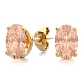 3/4 Carat Oval Shape Morganite Stud Earrings In 14K Yellow Gold Over Sterling Silver