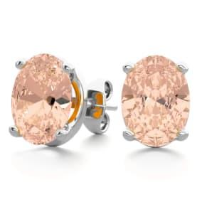 2 Carat Oval Shape Morganite Stud Earrings In Sterling Silver