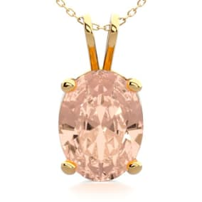 1 Carat Oval Shape Morganite Necklace In 14K Yellow Gold Over Sterling Silver, 18 Inches