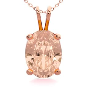 1 Carat Oval Shape Morganite Necklace In 14K Rose Gold Over Sterling Silver, 18 Inches