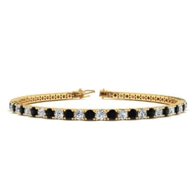 6.5 Inch 2 1/2 Carat Black And White Diamond Tennis Bracelet In 10K Yellow Gold