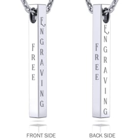 Sterling Silver 3D Vertical Bar Necklace With Free Custom Engraving, 18 Inches