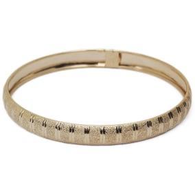 10K Yellow Gold Flexible Bangle Bracelet With Unique Diamond Cut Design, 8 Inches
