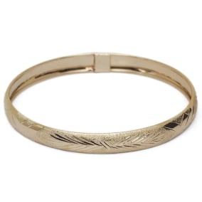10K Yellow Gold Flexible Bangle Bracelet With Classic Diamond Cut Design, Available in 7 and 8 Inch Lengths