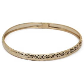 10K Yellow Gold Flexible Bangle Bracelet With Polished Diamond Cut Design, Available in 7 and 8 Inch Lengths