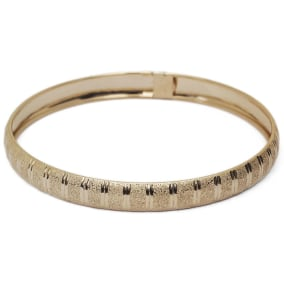 10K Yellow Gold Flexible Bangle Bracelet With Unique Diamond Cut Design, Available in 7 and 8 Inch Lengths